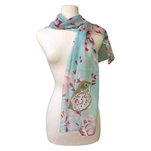 Cherry Blossom and Wood Thrushes Scarf