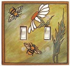 Daisy Bee Ceramic Light Switch Plates