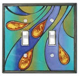 Peacock Ceramic Light Switch Plates
