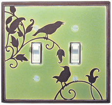 Songbird In Green Ceramic Light Switch Plates