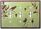 Songbirds In Green Ceramic Light Switch Plates