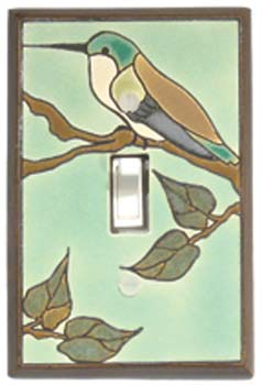 Hummingbird On Branch Ceramic Light Switch Plates
