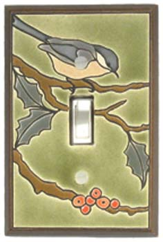 Chickadee Ceramic Light Switch Plates