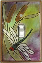 Dragonfly-Bulrush Ceramic Switch Plates