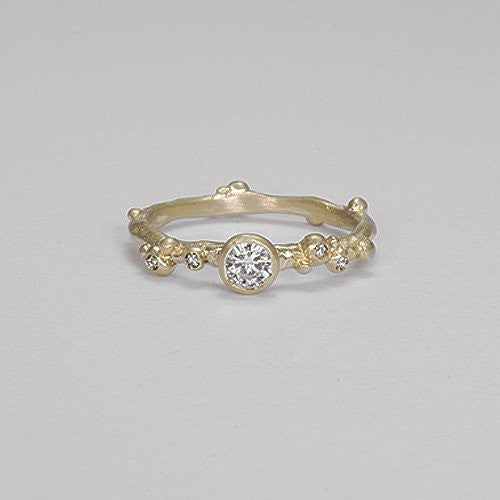 Encrusted 1 Branch Solitaire Ring