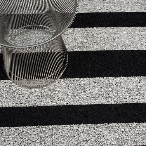 Bold Stripe Black and White Shag Mat