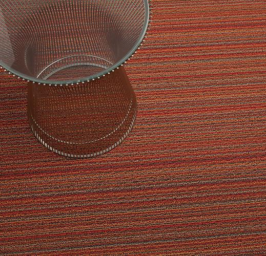 Skinny Stripe Orange Shag Mat