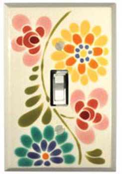 Glass Flowers Single Switch Plate