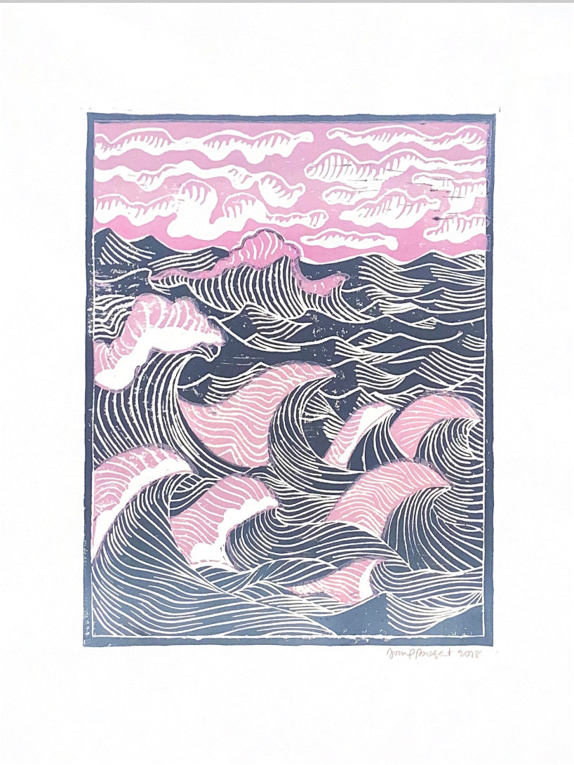 Rolling Waves Line Cut Print