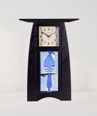 Arts & Crafts 4x8 Jay Bird Tile Clock - Slate Finish