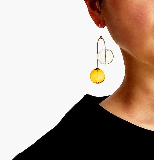 Balancing Act  No. 2 Yellow Earrings