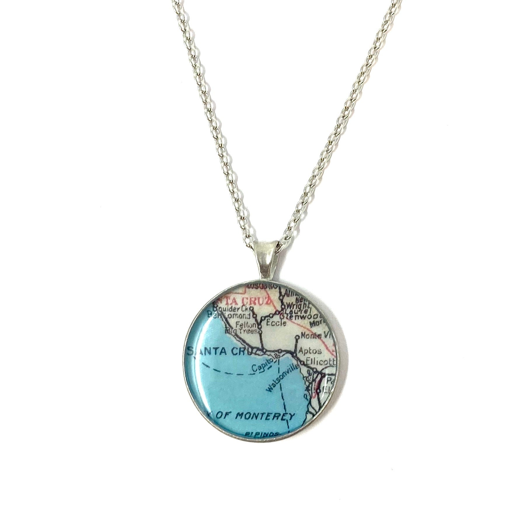 Santa Cruz & Monterey Bay Map Necklace Small Large