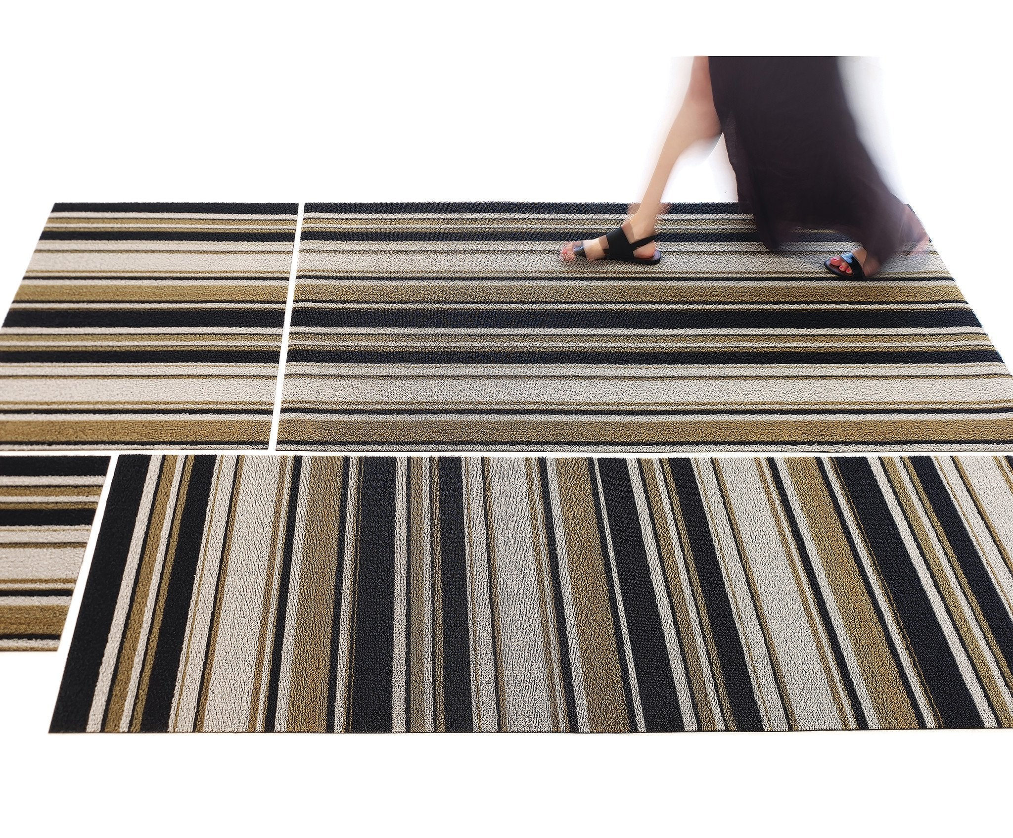 Mixed Stripe Luxe Shag Mat