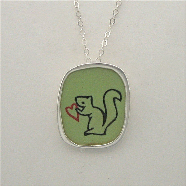Sterling Silver and Enamel Love Nut Necklace