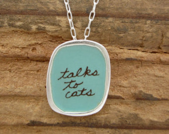 "Sterling Silver and Enamel ""Talks to Cats"" Necklace"