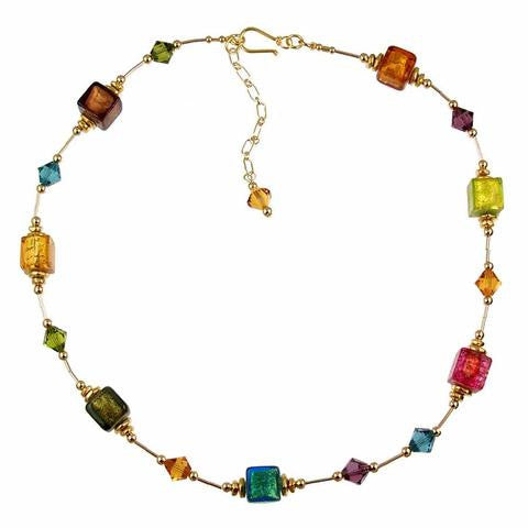 "Venetian Glass ""Block Party"" Necklace"