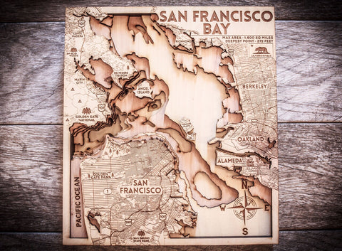 San Francisco Bay 3D Wood Map