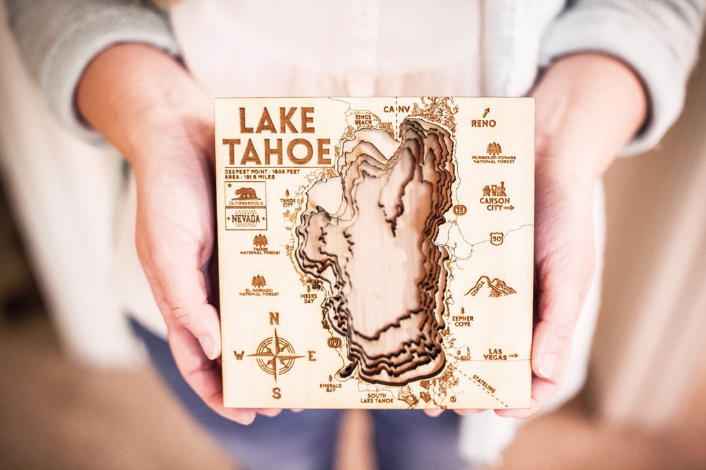 Lake Tahoe 3D Wood Map