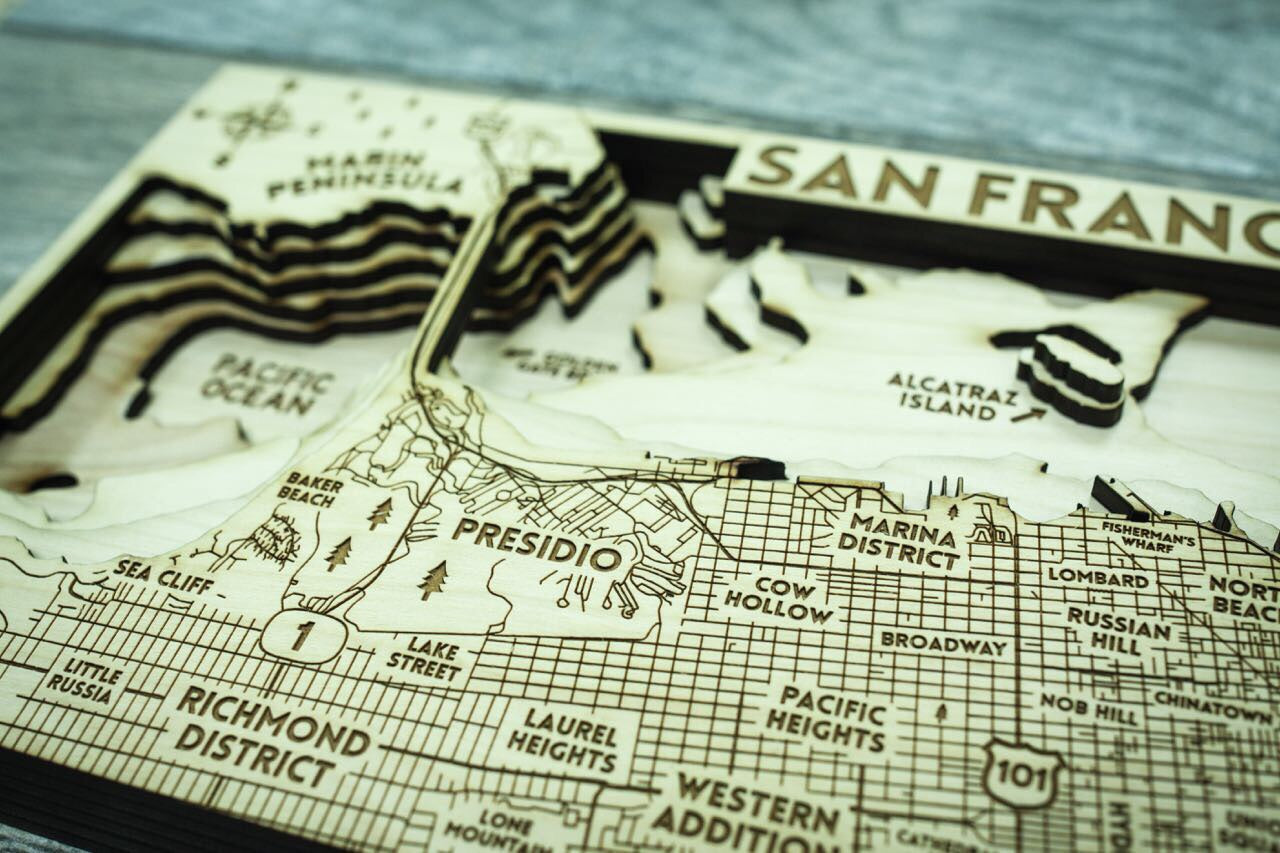 SF City 3D Wood Map