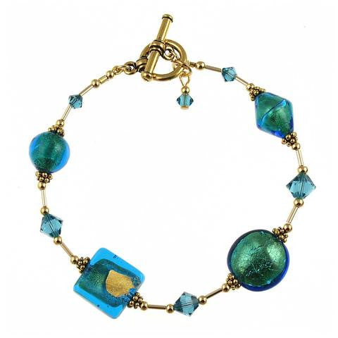 "Venetian Glass ""Teal We Meet Again"" Bracelet"