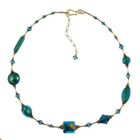 "Venetian Glass ""Teal We Meet Again"" Necklace"