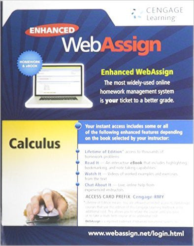 9781285858265 | Enhanced WebAssign Printed Access Card for Calculus, Multi-Term Courses, Life of Edition
