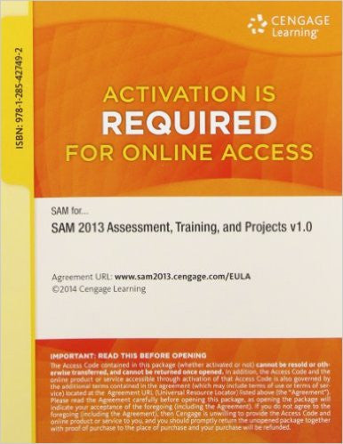 9781285427492 | SAM 2013 Assessment, Training, and Projects v1.0 Multi-Term Access Card