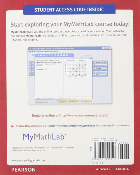 9780321199911 | MyMathLab Student Access Code ~ Digital Delivery