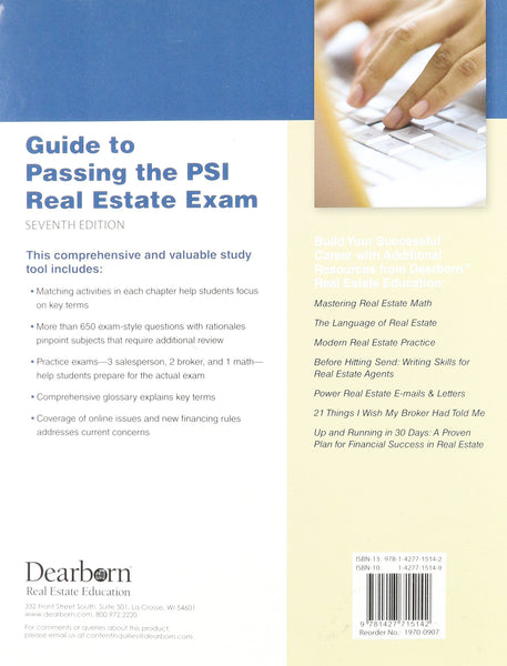 9781427715142 | Guide to Passing the PSI Real Estate Exam, 7th Edition
