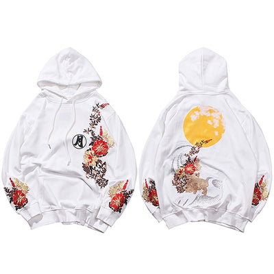 Hip Hop Hoodie Sweatshirt Embroidered Floral Full Moon Rabbit Harajuku Streetwear Hoodie Pullover Cotton Autumn Hipster