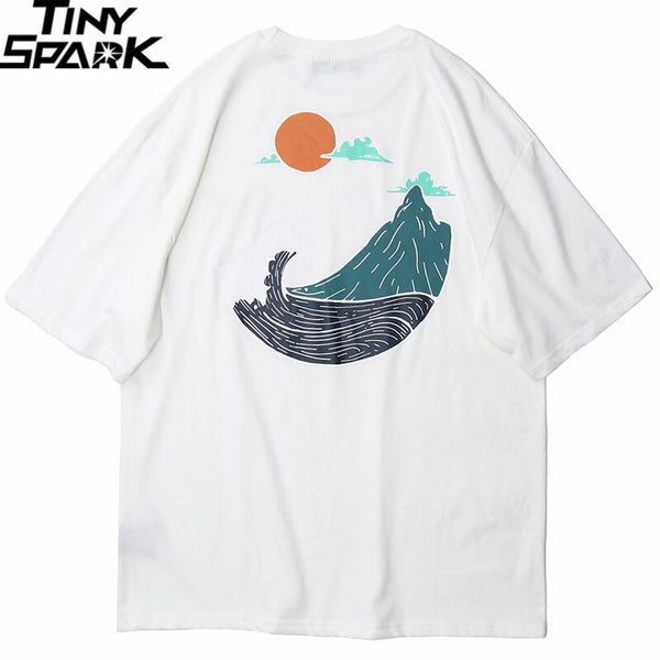 Great Wave T Shirts Hip Hop Mens Streetwear Harajuku Japanse Wave Tshirt Summer Short Sleeve T-Shirt Cotton Tops Tees Black