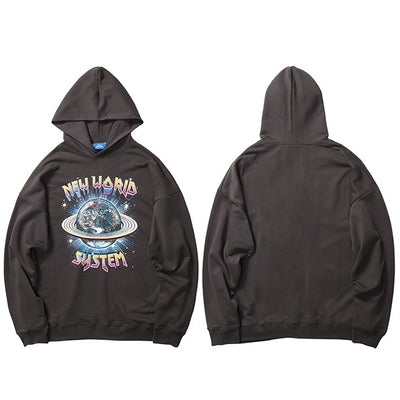 Hip Hop Streetwear Hoodies Sweatshirt New World Print Men Harajuku Pullover Hoodie Cotton Autumn Loose Sweat Shirt Black