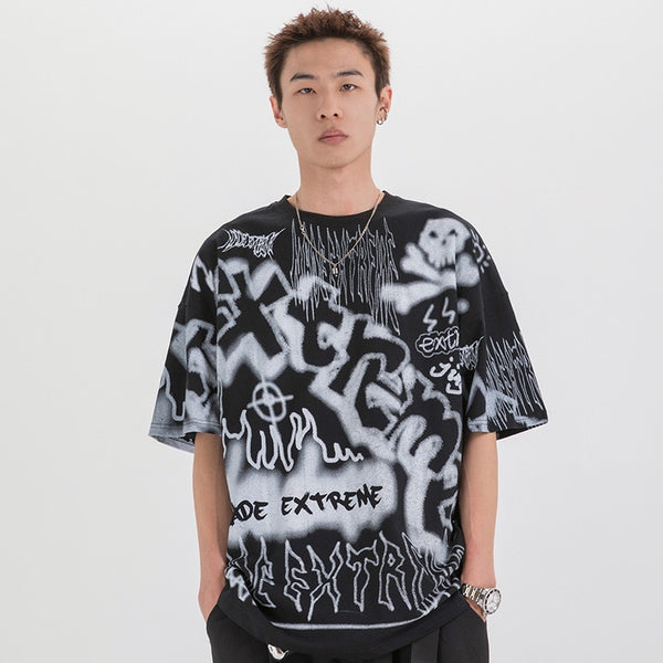 Hip Hop T Shirt Oversize Streetwear Men Graffiti Tshirt Short Sleeve Cotton Summer Harajuku T-Shirt Loose HipHop Green New