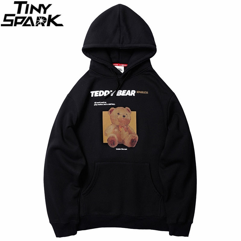 Hoodies Sweatshirt Bear Print Men Hip Hop Streetwear Winter Fleece Cotton Pullover Black Retro Hoodie Autumn Sweat Shirt