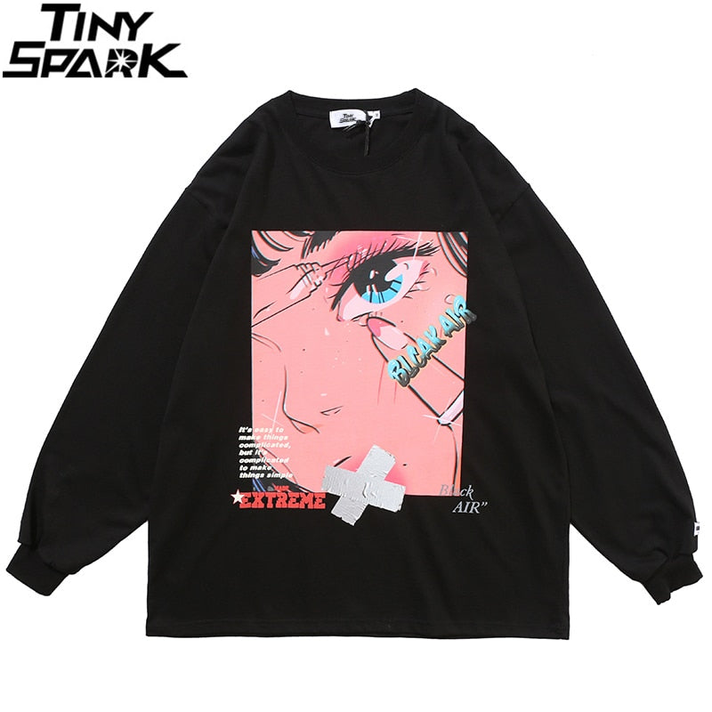 Men Hip Hop Oversized T Shirt Long Sleeve Streetwear Japanese Anime Girl Tshirt Harajuku Cartoon Tops Tees Cotton Loose