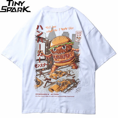 Men Hip Hop T Shirt Hamburger Monster Attack Japanese Harajuku Funny T-Shirt Streetwear Summer Tshirt Cotton Tops Tees New