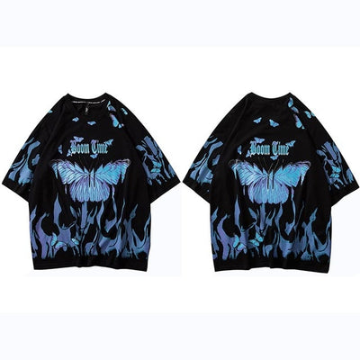 Mens Hip Hop T Shirts Blue Fire Flame Butterfly Streetwear Tshirt  Harajuku Summer Short Sleeve T-Shirt Cotton Tops Tees