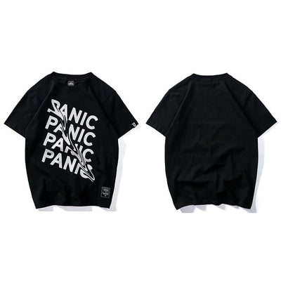 Summer T Shirt Panic Letter Print Short Sleeve Hip Hop Funny T-Shirt Streetwear Casual Tshirts Cotton Tops Tee New Fashion