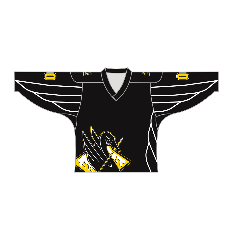 Sublimated Duck Design Hockey Jersey Black