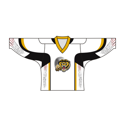 Sublimated TIGER Team Design Hockey Jersey BLACK WHITE