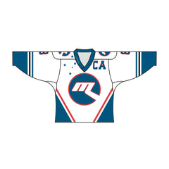 Sublimated CA Team Design Hockey Jersey Blue and White