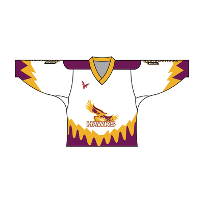 SUBLIMATED HAWKS TEAM DESIGN HOCKEY JERSEY WHITE YELLOW PURPLE