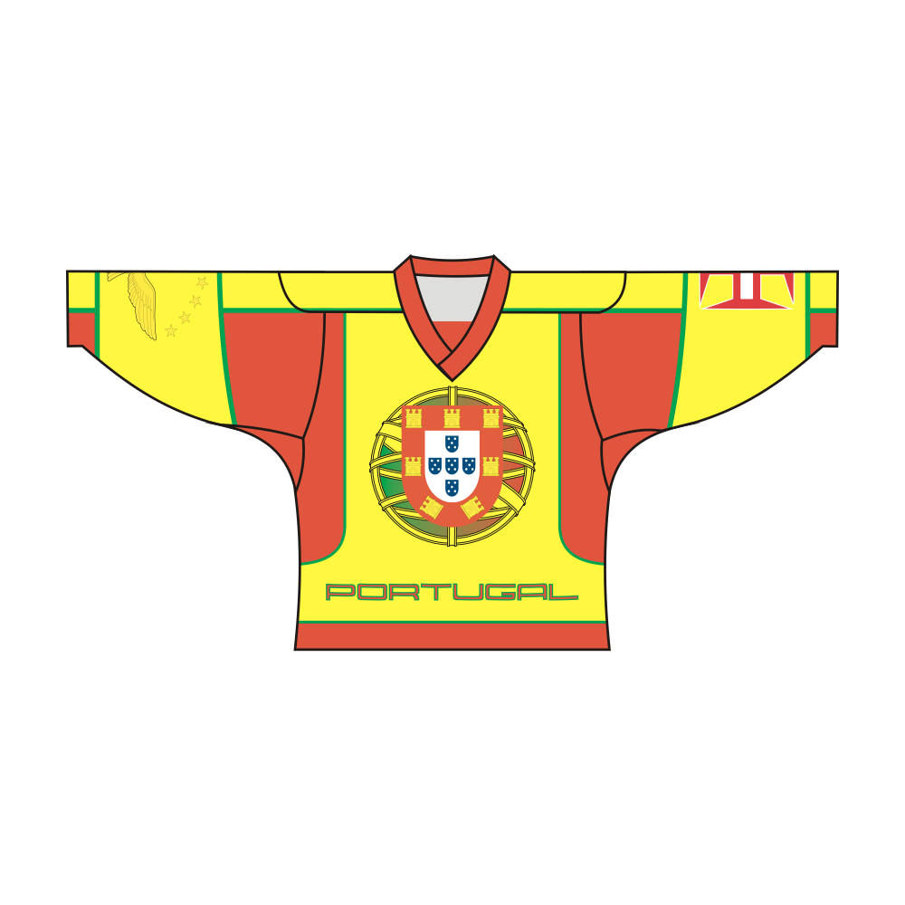 SUBLIMATED PORTUGAL TEAM DESIGN HOCKEY JERSEY PORTUGAL MADEIRA AZORES