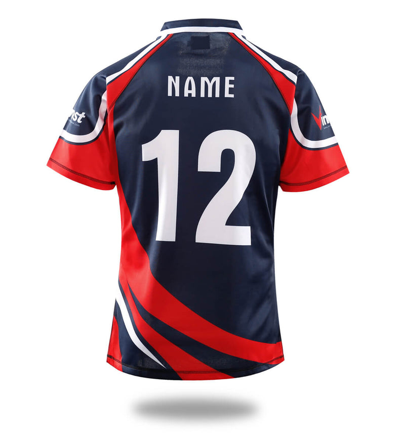 Sublimated Printign Black Red Design Rugby Jersey