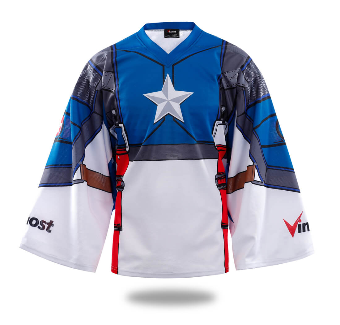 Sublimated Captain America Ice hockey Shirts