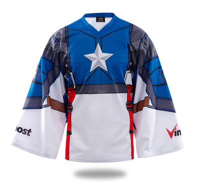 Sublimated Captain America Ice hockey Shirts-Vimost Sports