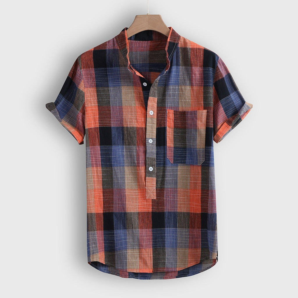 Fashion Men's shirt Streetwear Casual Short sleeve shirt Camisa Button Plaid Hawaii Print Beach Blouse Top Camisa masculina