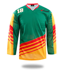 Green Yellow Red Design Hockey Shirts
