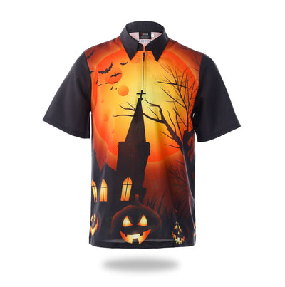 Sublimated Orange Halloween Design Mens Shirts-Vimost Sports