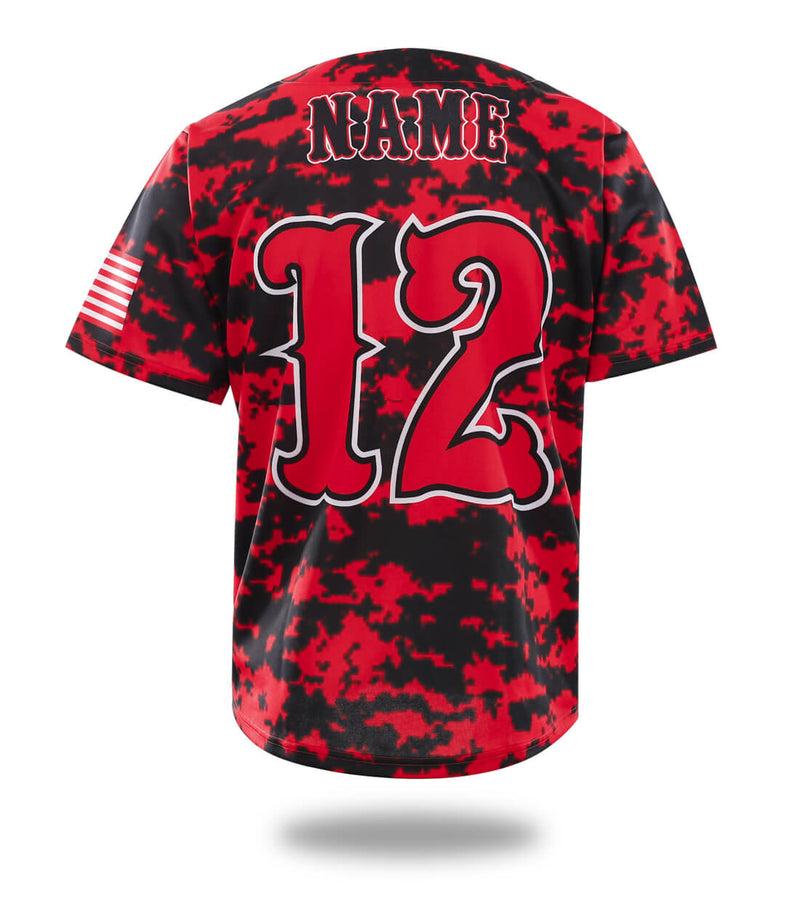 Hawks Camo Red Design Baseball Jersey
